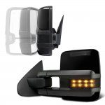 Chevy Silverado 2500HD 2007-2014 Glossy Black Power Folding Tow Mirrors Smoked LED Lights