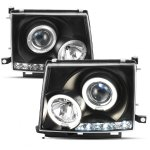Toyota Tacoma 1997-2000 Black Dual Halo Projector Headlights with LED