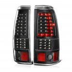 2002 Chevy Silverado Black Full LED Tail Lights C-DRL