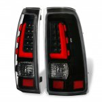 2002 Chevy Silverado Black LED Tail Lights Red Tube