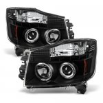 Nissan Titan 2004-2015 Black Halo Projector Headlights