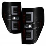 Ford F150 2009-2014 Black Smoked Tube LED Tail Lights