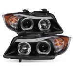 BMW 3 Series E90 Sedan 2006-2008 Black Dual Halo Projector Headlights