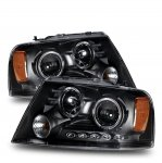 2005 Ford F150 Black Projector Headlights with Dual Halo and LED