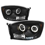 Dodge Ram 2006-2008 Black Dual Halo Projector Headlights with LED