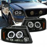 2005 Ford F150 Black Dual Halo Projector Headlights with LED