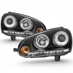 VW Rabbit 2006-2009 Black Dual Halo Projector Headlights with LED Daytime Running Lights