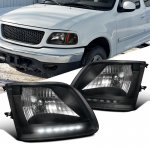 2001 Ford F150 Black Crystal Headlights with LED DRL