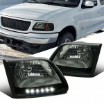 2001 Ford F150 Smoked Crystal Headlights LED DRL