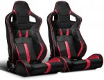 Black Racing Bucket Seats Reclining Leather Red Strip