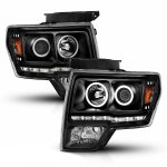 Ford F150 2009-2014 Black Projector Headlights with LED Halo Tube