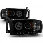 Dodge Ram 2002-2005 Black Smoked Halo Projector Headlights with LED