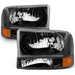 Ford F250 Super Duty 1999-2004 Crystal Headlights and Corner Lights Black