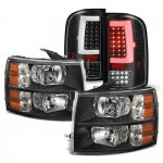 Chevy Silverado 2500HD 2007-2014 Black Headlights and LED Tail Lights Tube