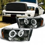 Dodge Ram 2002-2005 Black Dual Halo Projector Headlights with LED