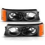 Chevy Silverado 3500 2003-2006 Black Bumper Lights