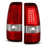 Chevy Silverado 1999-2002 Red and Clear LED Tube Tail Lights