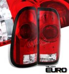 2002 Ford F250 Super Duty Red and Clear Tail Lights