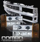 1997 Chevy 1500 Pickup Chrome Grille and Clear Halo Projector Headlights Set