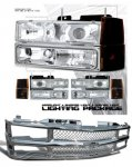 1997 Chevy 1500 Pickup Chrome Mesh Grille and Clear Projector Headlights