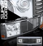 1999 Chevy 3500 Pickup Metallic Black Grille and Clear Headlight Conversion Kit