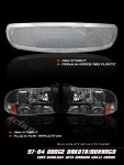1999 Dodge Durango Chrome Mesh Grille and Black Euro Headlights Set