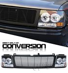 2002 Chevy Silverado Black Billet Grille and Headlight Conversion Kit