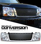 2004 Chevy Silverado Black Round Hole Mesh Grille and Headlight Conversion Kit