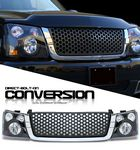2004 Chevy Silverado Chrome Trim Black Round Hole Grille and Headlight Conversion Kit