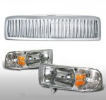 1998 Dodge Ram Chrome Vertical Grille and Euro Headlights Set