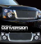 2004 Chevy Silverado Chrome Mesh Grille and Black Headlight Conversion Kit