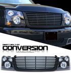 2004 Chevy Silverado Black Billet Grille and Headlight Conversion Kit