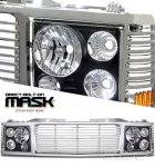 1998 Chevy 3500 Pickup Chrome Billet Grille and Black Headlight Conversion Kit