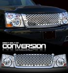 2004 Chevy Silverado Chrome Round Hole Mesh Grille and Headlight Conversion Kit