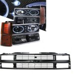 Chevy Suburban 1994-1999 Black Grille and Halo Projector Headlights