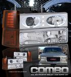 1999 Chevy Suburban Clear Halo Projector Headlights and Bumper Lights Set