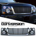 2004 Chevy Silverado Chrome Trim Black Billet Grille and Headlight Conversion Kit