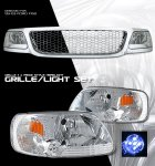 2002 Ford F150 Chrome Mesh Grille and Clear Euro Headlights Set