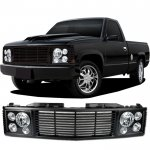 1998 Chevy 3500 Pickup Black Billet Grille and Headlight Conversion Kit