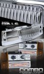 GMC Suburban 1994-1999 Chrome Vertical Grille and Projector Headlights Set