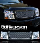 2004 Chevy Silverado Silver Mesh Grille and Clear Headlight Conversion Kit