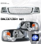 2002 Ford F150 Chrome Mesh Grille and Black Euro Headlights Set