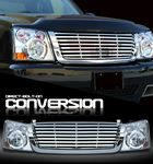 2004 Chevy Silverado Chrome Billet Grille and Headlight Conversion Kit