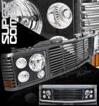 1999 Chevy 3500 Pickup Metallic Black Grille and Headlight Conversion Kit