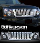 2004 Chevy Silverado Chrome Round Hole Mesh Grille and Black Headlight Conversion Kit