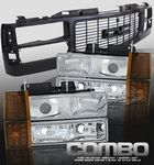 1997 GMC Yukon Black Grille and Clear Projector Headlights Set