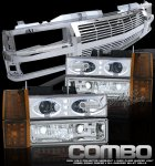 Chevy Suburban 1994-1999 Chrome Billet Grille and Halo Projector Headlights