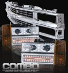 1997 Chevy 1500 Pickup Chrome Grille and Halo Headlights with Bumper Lights