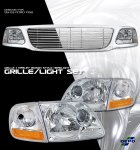 2002 Ford F150 Chrome Billet Grille and Depo Clear Headlights Set