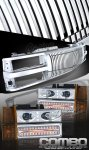 GMC Suburban 1994-1999 Chrome Vertical Grille and Projector Headlights with LED